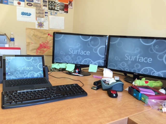 My new office setup at work with the Surface.