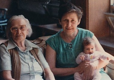 Great-grandma, grandma, and me at two months.