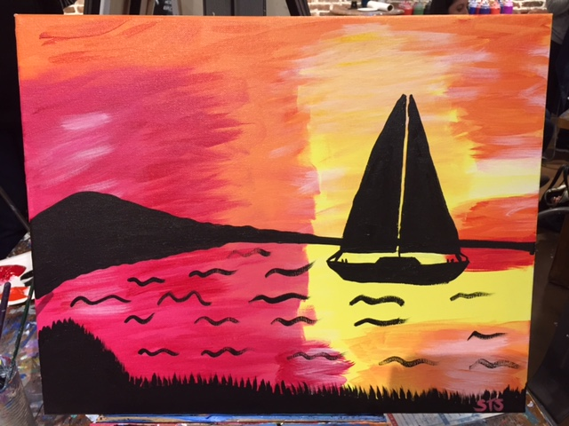 sailboat on sunset lagoon
